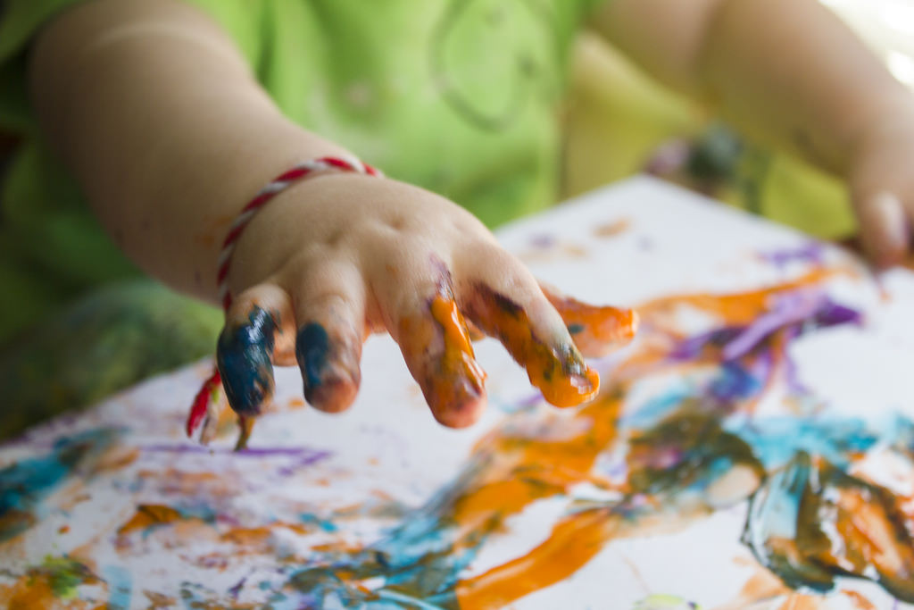 Boy Finger Painting